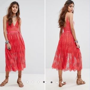 NWOT Free People Matchpoint Midi Lace Coral Dress